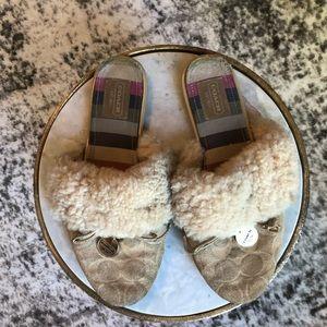 COACH Carra Signature Embossed Fur Slippers